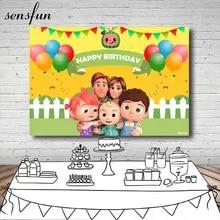 Zhy 7X5FT Cartoon Children Birthday Backdrop for Photography Dessert Balloon Gift Ribbon Background Photo Studio Props LHST553