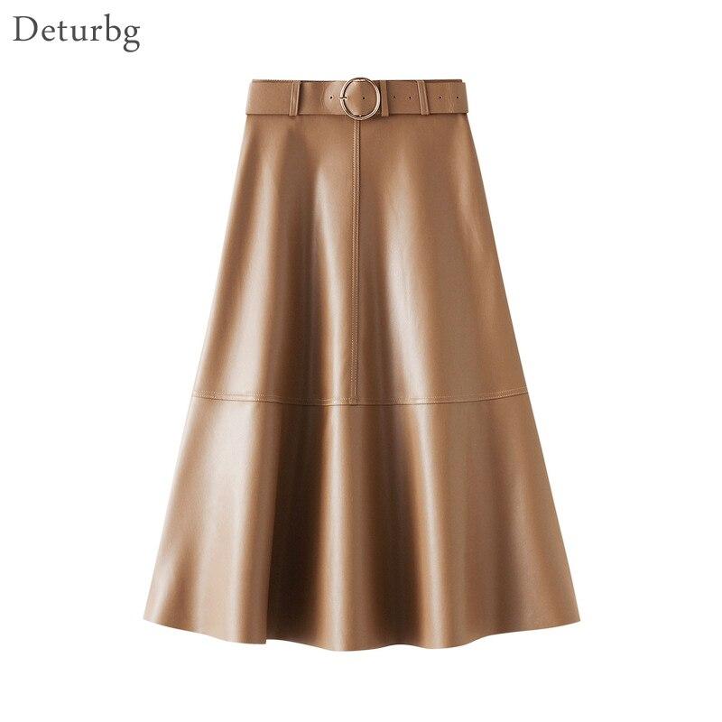 Женская Милая юбка миди из искусственной кожи, свободный пояс, Корейская женская черная юбка трапеция из искусственной кожи с высокой талией, Faldas 2020, Осень зима, SK581|Юбки|   | АлиЭкспресс
