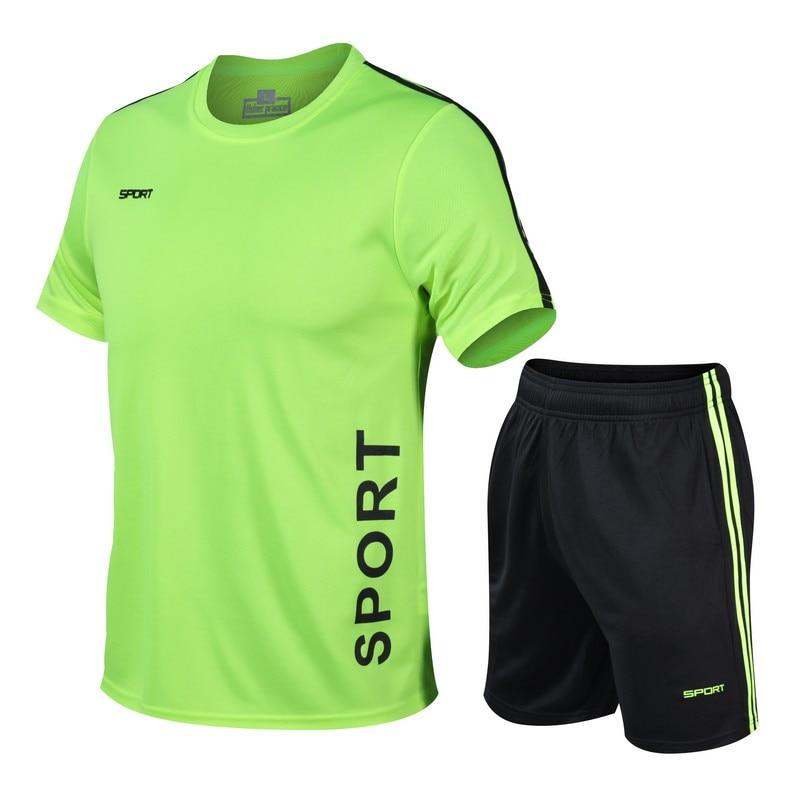Men Sweat Suit Two-piece Tracksuit Summer Male Sportswear Sets Fashion Suit Men's Fitness Suit Quick-drying Shorts Jogger Set