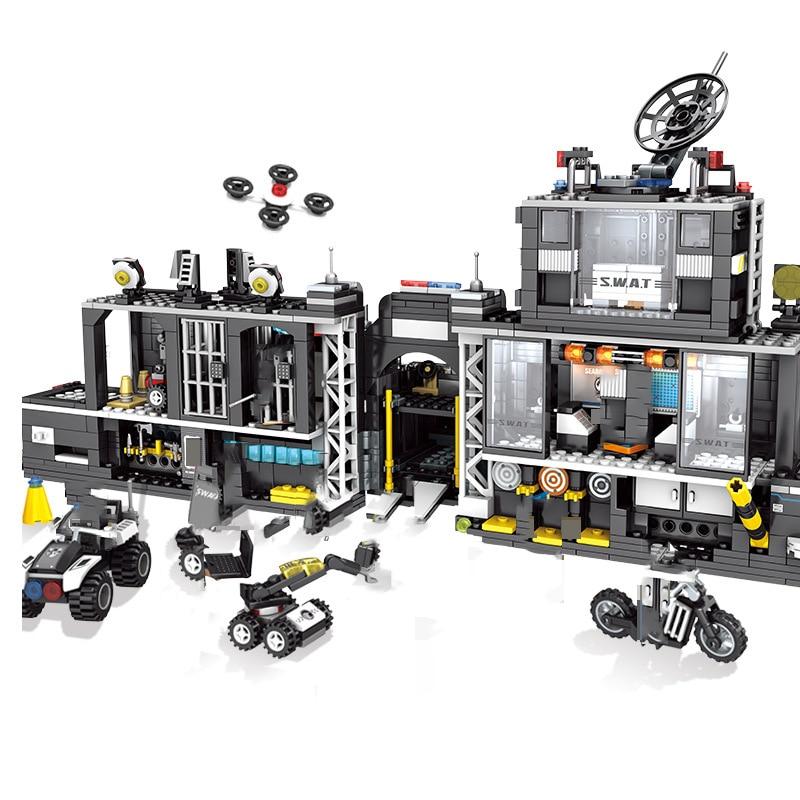 Oyuncaklar ve Hobi Ürünleri'ten Bloklar'de Askeri Şehir Dönüşüm Polis Karakolu Yapı Taşları Uyumlu Legoings Teknik SWAT Takım Kamyon Tuğla çocuk oyuncakları Hediyeler'da  Grup 3