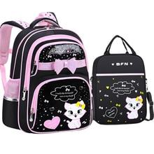 New Korean Primary PU leather School Bag 2020 Fashion Cute Girls With Cute Cat Orthopaedic  Waterproof Backpack