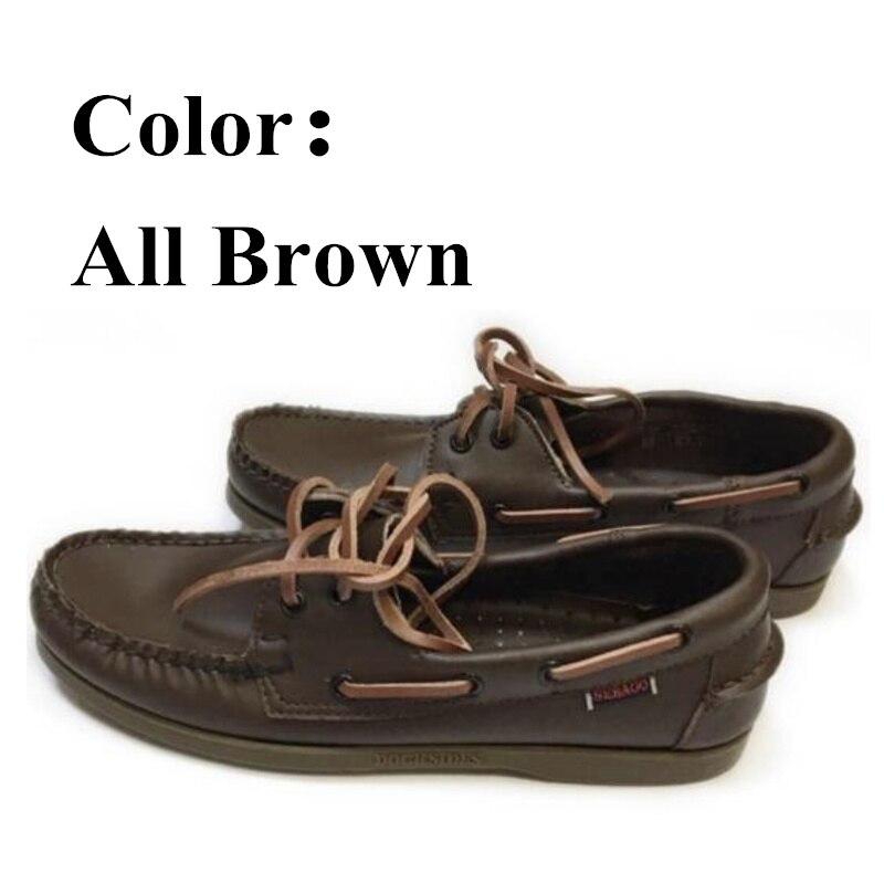 Zapatos náuticos Docksides de cuero genuino para Hombre, zapatillas de diseñador para Hommme, mocasines completamente marrones para Hombre Y065 Zapatos náuticos de cuero de color verde militar para hombre, zapatos con cordones a la moda, enredaderas planas de 46, mocasines, zapatos de cuero genuino para hombre, zapatos informales mocasín