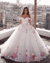 Glamurosa vestidos para boda de princesa, vestido de compromiso, línea A, flores hechas a mano, vestido de novia de tul, vestidos de boda de talla grande 2021