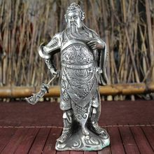 China Old Feng Shui Ornaments White Copper Silver Plating Guan Gong Statue Home Decoration china post stamp collect sheet 2011 23 guan gong