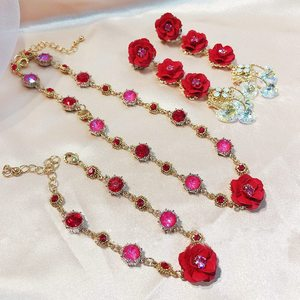 MENGJIQIAO Korean Elegant Red Rose Flower DropEarrings For Women Girls Fashion Heart Crystal Temperament Party Jewelry Gifts