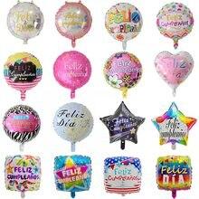 10 pçs 18 polegada redonda feliz cumpleanos espanhol feliz feliz aniversário festa de aniversário mylar folha balões de hélio balões de ar graduação globos de ar brinquedo