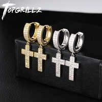 TOPGRILLZ Cubic Zirconia Bling Ice Out Cross Earring Gold Silver Copper Material Earrings for Men Women Hip Hop Rock Jewelry
