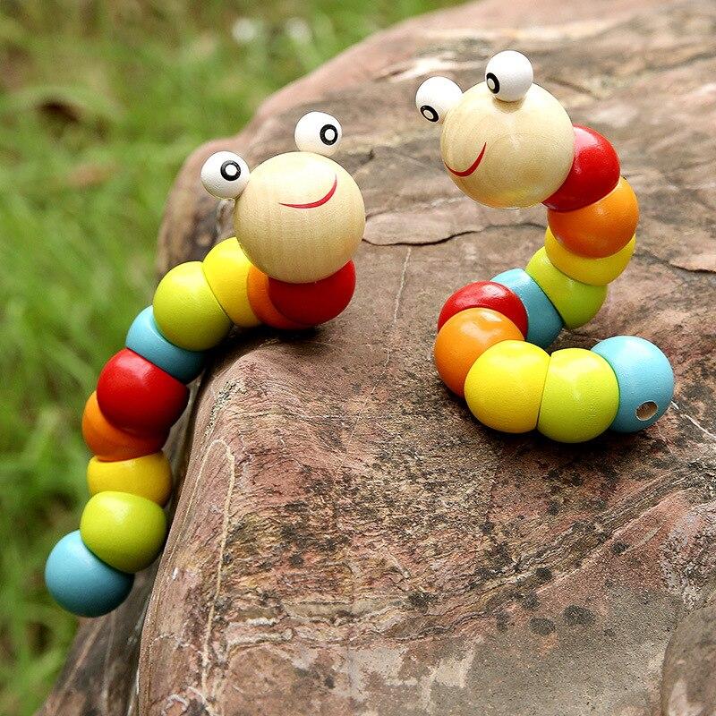 Wooden Model Caterpillar Toys Flexible Toy Worm Doll Baby Exercise Finger Flexibility Kindergarten Gift