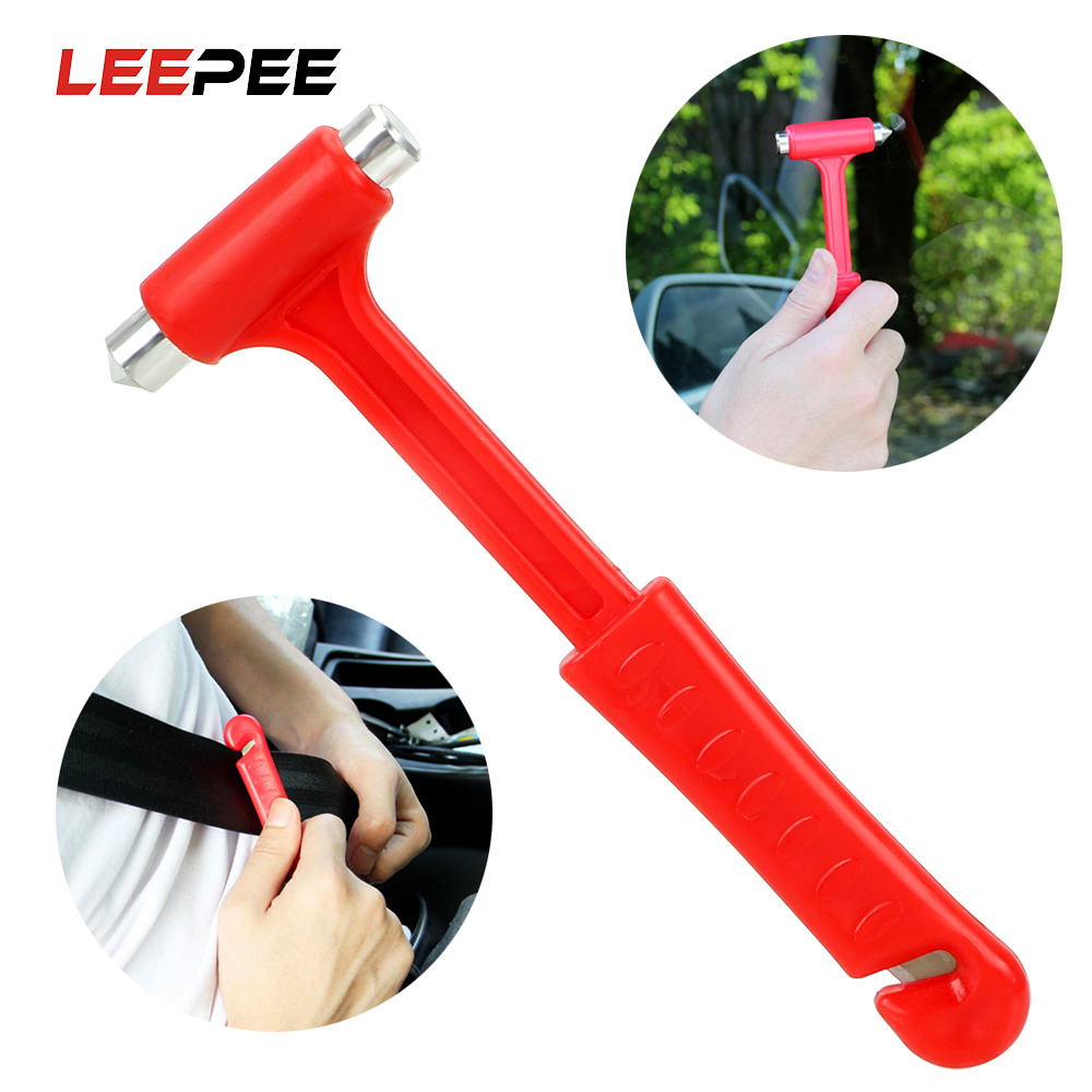 LEEPEE Car Safety Hammer Emergency Hammer Car Safety Escape Glass Window Breaker Seat Belt Cutter Mini Life-Saving Car-styling image