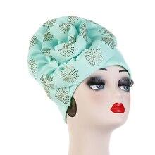 2020 luxo muculmano turbante feminino brilhante chapéu de hijab grandes dimensões caps caps de cabeca beanie quimio câncer acessorios