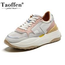 Taoffen hakiki deri Sneakers yaz kadın vulkanize ayakkabı kalın alt ayakkabı nefes kadın ayakkabı boyutu 35-41