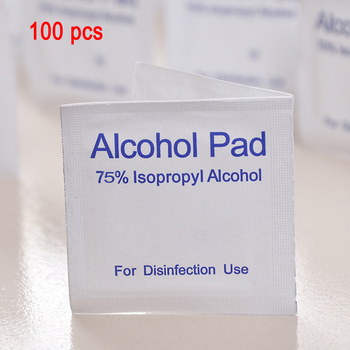 100 pcs Alcohol Cleaning Wet Disposable Disinfection Prep Pads Alcohol Wipes Sterilization Nail cleaning First Aid