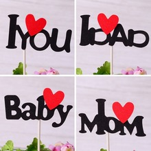10pcs Cake Decoration I Love Dad I Love Mom Baby I Love You Cake Toppers Black Letter Red Heart Cake Toppers for Mom Dad Baby слюнявчик printio i love mom and dad