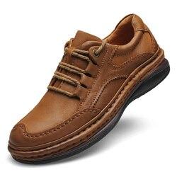 Homens sapatos de couro genuíno negócios sapatos formais 100% couro respirável tênis de montanha caminhadas 2019 novos tênis de couro