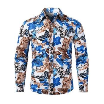 Fashio butterfly print Shirt Mens Slim Fit Shirt Long Sleeve Shirt Male Top Europe Size Cotton Men's Shirt streetwear Male Shirt