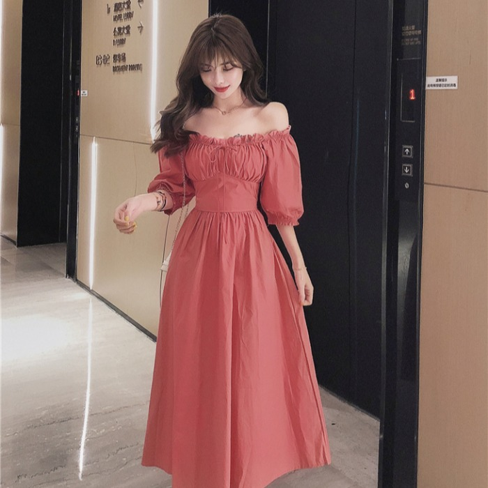 Women Empire Slim Retro Off  Shoulder Ruffles  Slash Neck Sexy Dress Solid Summer Girls Female