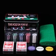 Texas holdem poker portátil 200 pces conjunto com microplaquetas de poker/pano de mesa/jogo caixa de metal cego para jogo de tabuleiro de jogo jantar festa