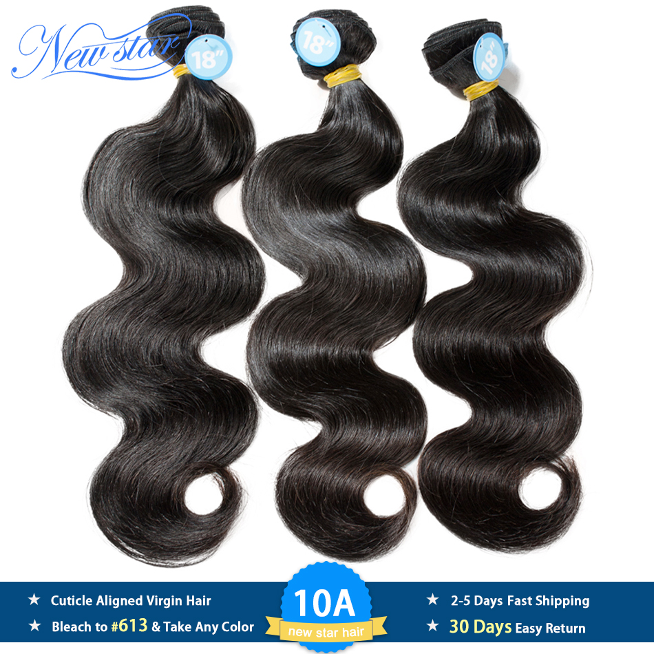Hair Weave-Extension Virgin Body-Wave 3-Bundles New Star Donor Brazilian Unprocessed