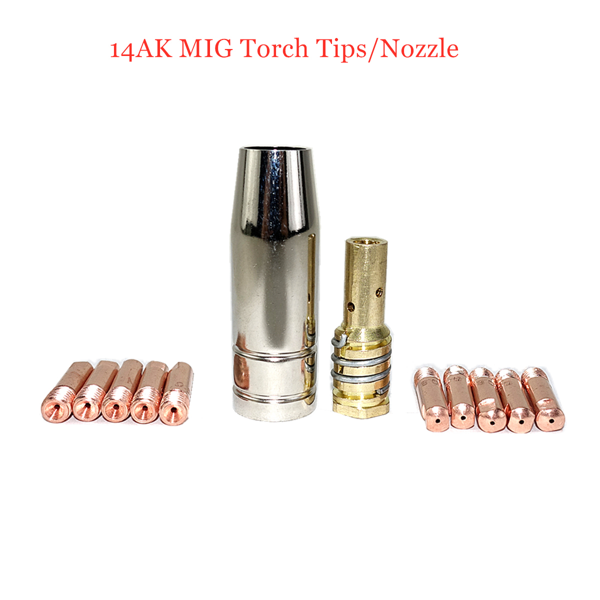 14AK Welding Torch Consumables 12pcs 0.6/0.8/0.9/1.0/1.2mm Gas Valve MIG Torch Gas Nozzle Tip Holder For MIG Welding Machine