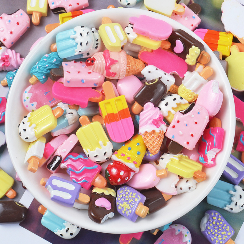 Resin Ice Cream Charms For Slime Filler Decor DIY Polymer Clay Addition Slime Accessories Lizun Model Tool For Kids Toys Food