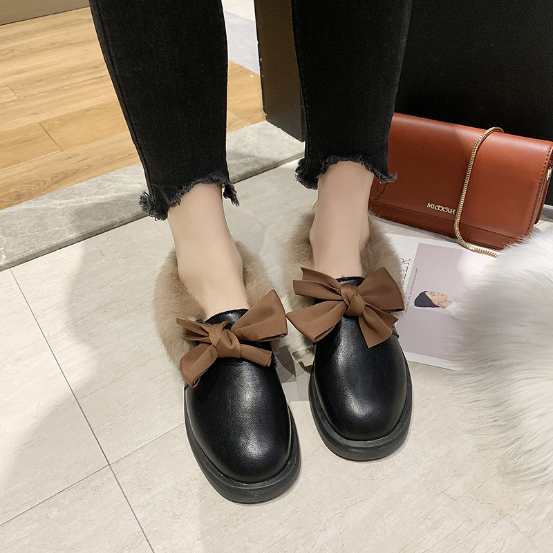 2019 winter long plush warm fur shoes bow tied decorate slip-on leather bullock shoes woman anti-skid chunky leisure espadrilles 46