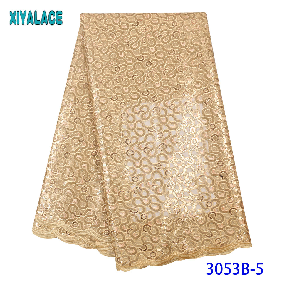 Latest Gold Tulle Lace Fabric Europe And American Fashion Fabric High Quality French Lace Fabric  With Sequins KS3053B