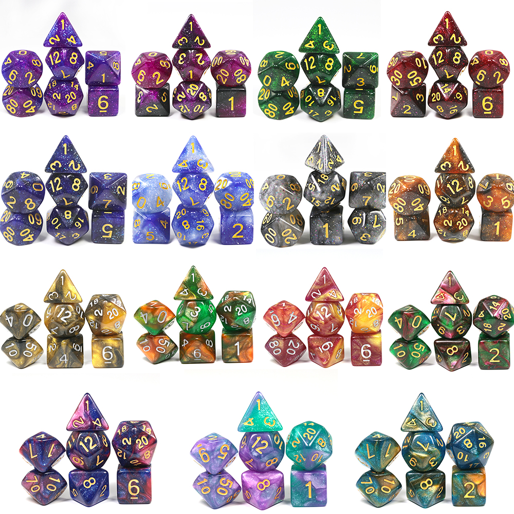 High Quality 15 Color Creative Universe Galaxy Dice Set Of D4-D20 Glitter Powder Amazing Effect For  DnD MTG Tabletop RPGs Games