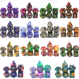 High Quality 15 color Creative Universe Galaxy Dice Set of D4-D20 Glitter Powder Amazing Effect for DnD MTG Tabletop RPGs Games(China)