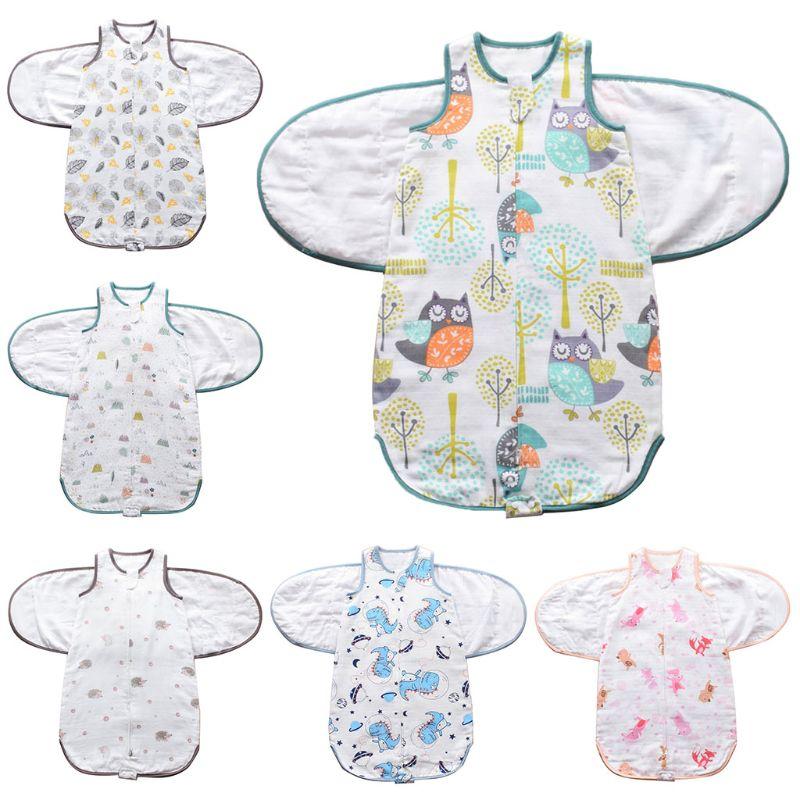 Newborns Swaddle Sleepsack Soft Breathable Cotton Infants Sleeping Bag Adjustable Toddlers Wrap Cloth Blanket