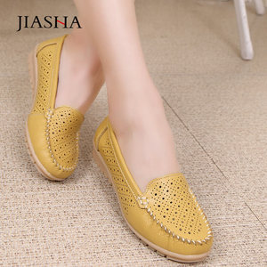 Image 3 - 2020 spring women leather shoes woman loafers cutout ballet women flats shoes female flat nursing slip On loafers women shoes