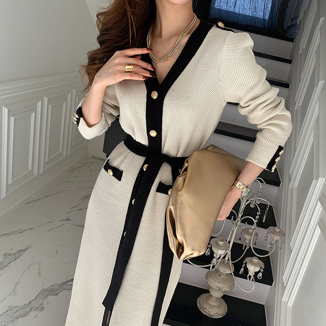Korean Chic French Dress V-neck Dress Woman Lace Contrast Color Chic Single Breasted Tie Waist Cardigan Knitted Dress 1