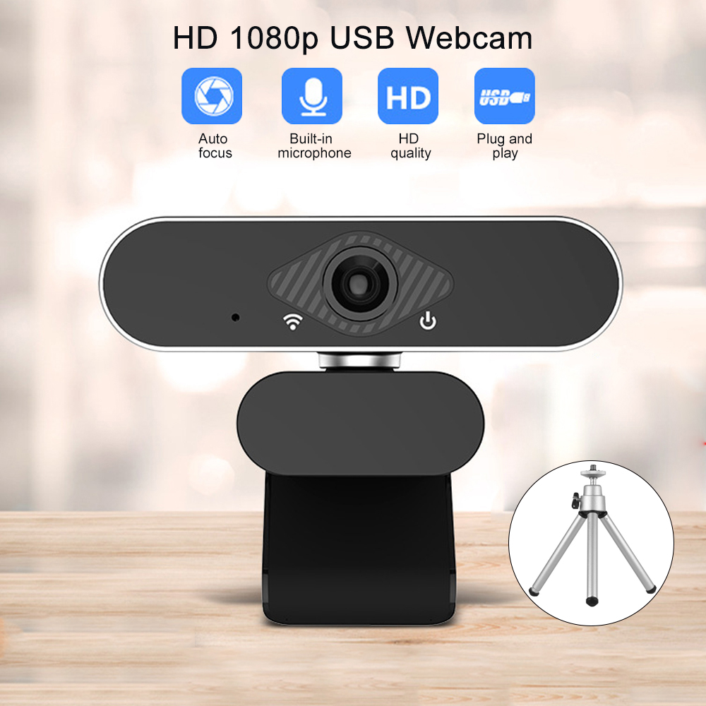 Webcam 1080p Autofocus Full Hd Usb Camera Web Cam Microphones Windows 10 For Computer веб-камера с микрофоном With Desktop Stand