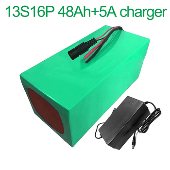 With 5A charger 48V 48Ah 13S16P 18650 Li-ion Battery Pack E-Bike Ebike electric bicycle      315x145x140mm