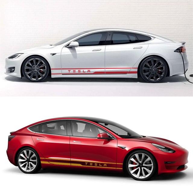 1Pair Car Styling Door Side Waist Skirt Stickers Decals Exterior Body Sticker Stripe Trim Decoration for Tesla Model 3 Mode X S 5