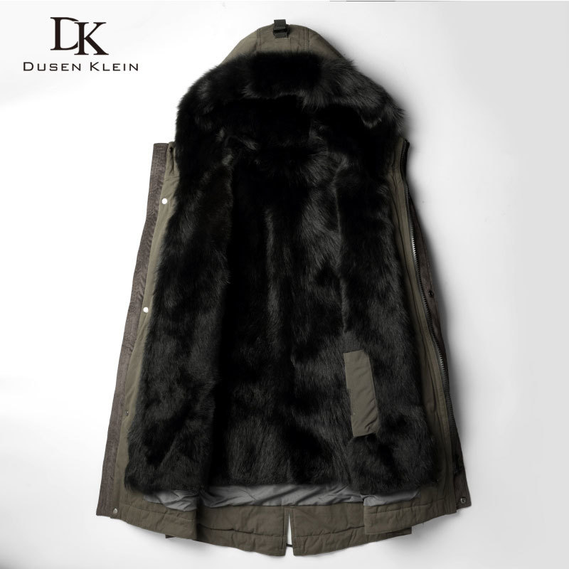 DusenKlein Men Warm Fur Jackets  Winter New Luxury Long Wolf Fur Liner Coat Designer Brand Thick Outerwear Plus Size 81E1125
