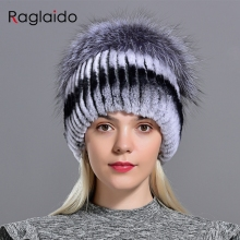 winter women hats fox rabbit fur pompom skullies beanies warm elastic fashionabl