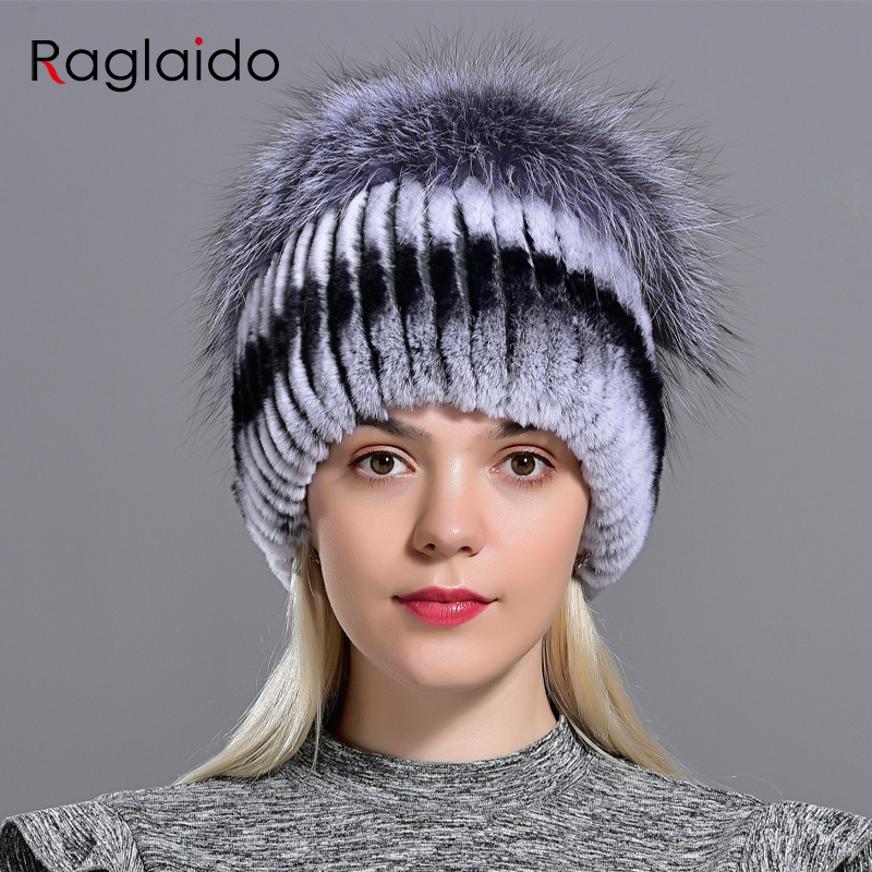 Winter Women Hats Fox Rabbit Fur Pompom Skullies Beanies Warm Elastic Fashionable Fluffy Thick Outdoor Stylish Natural Fur Hats