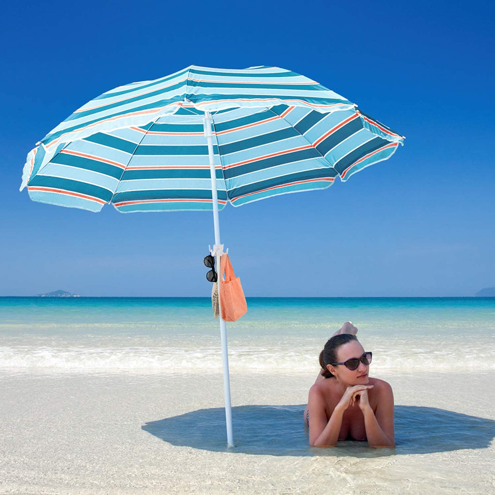 2pcs Beach Umbrella Sand Anchor Holder Parasol Spike Sand Grabber + Hanging Hook Camping Portable Outdoor Elements