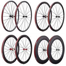 Carbon-Wheels Spokes Road 700C Rim-Brak Front-20h with Powerway R13/Hub-pillar/1432 Rear-24h
