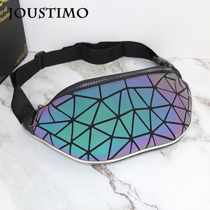 New Women Waist Bag Luminous Geometric Fanny Pack High Quality PU Leather Belt Purses Outdoor Sports Travel Shoulder Chest Bags