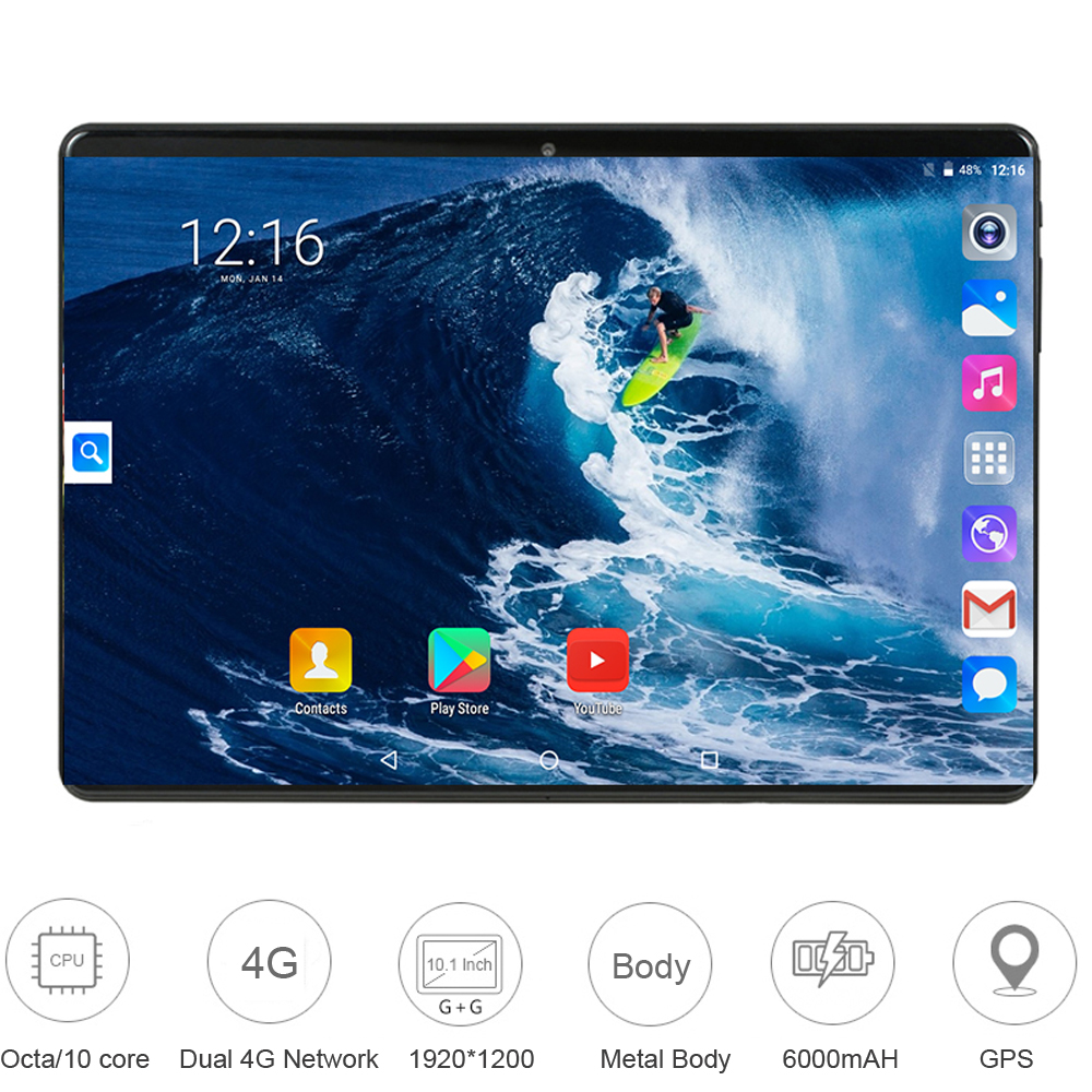 Newest 10 Inch Tablet Android 9.0 Ten Core 6GB RAM 128GB ROM 3G 4G FDD LTE Wifi Bluetooth GPS Phone Call Glass Screen Tablet Pc