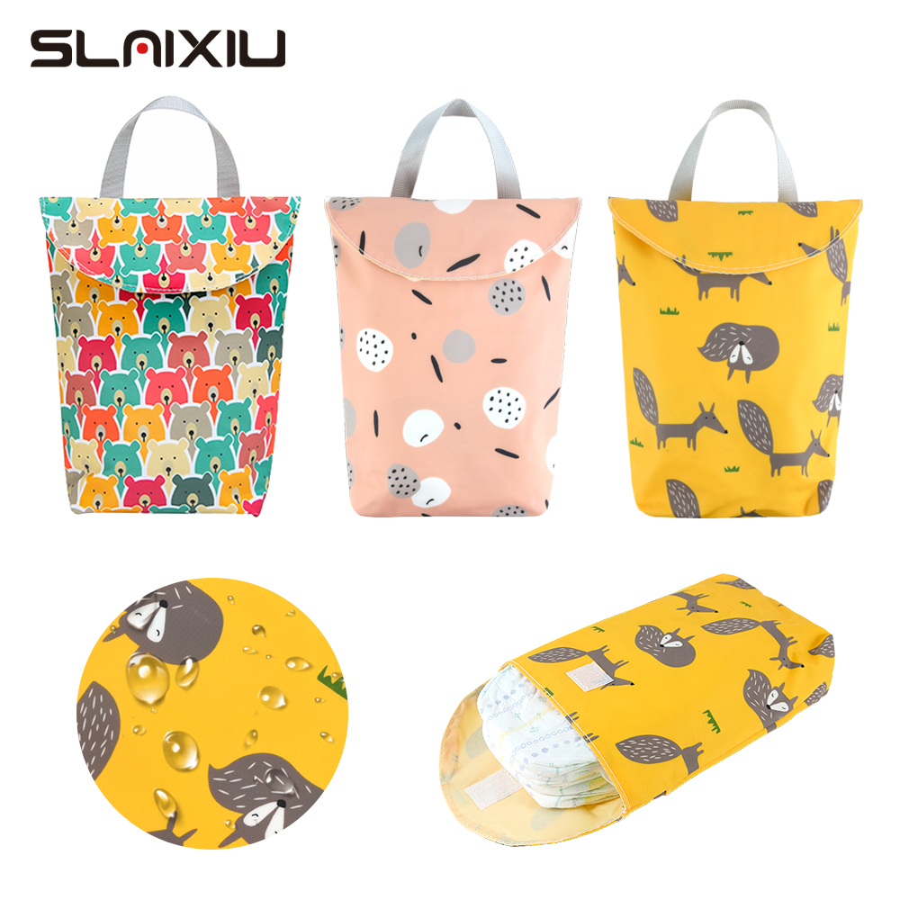 SLAIXIU Diaper Storage Bag  Reusable Waterproof Fashion Print Wet/Dry Bag Nappy Bags Travel Nappy Big Capacity Mummy Diaper Bag