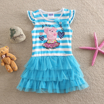 Peppa Pig Child Girl Cotton Pleated Dress Blue Color Cartoon Striped Embroidered Art Princess Short-Sleeve Dress embroidered striped sleeve tee