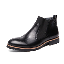 Men's Boots Autumn Leather Chelsea Boots Brogue Style Men Ankle Boots Breathable Formal Boots Man High Top Casual Shoes