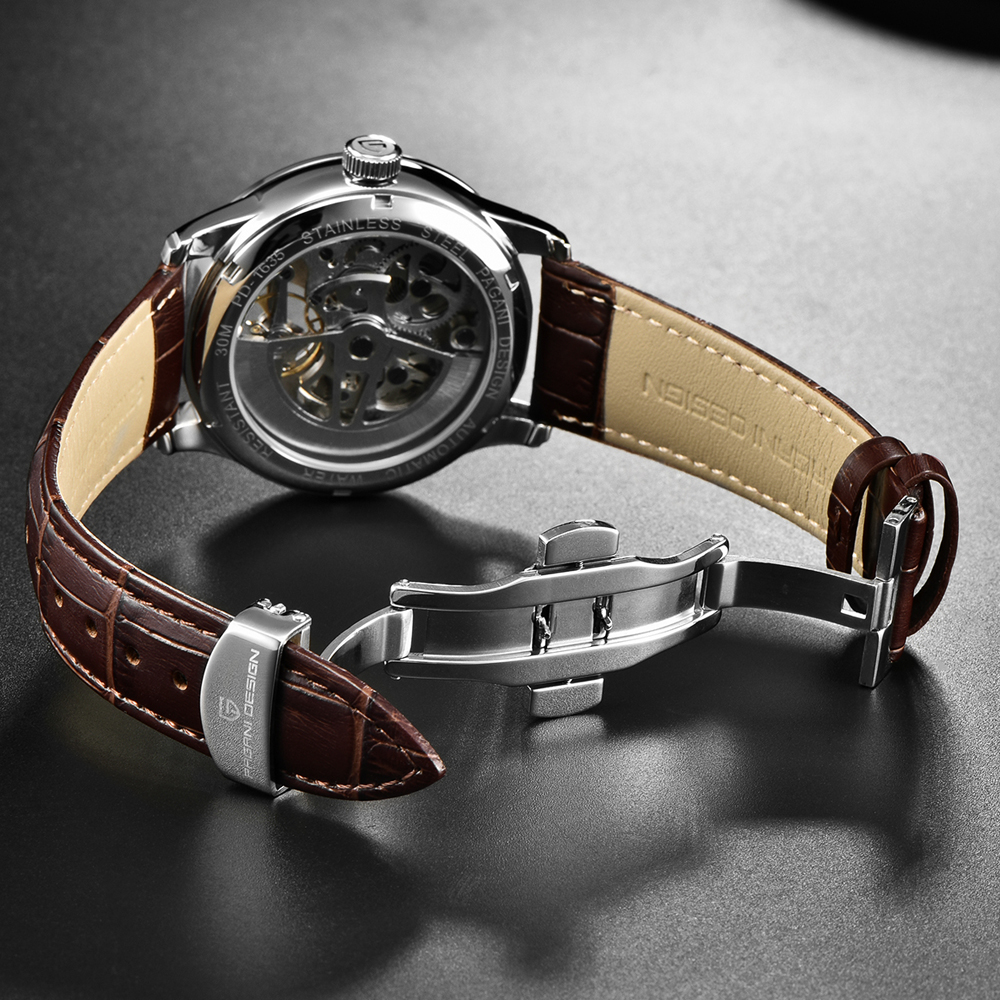 2020 free shipping New Fashion PAGANI Leather Tourbillon Watch Luxury Brand Automatic Men Watch Men Mechanical silver stainless Steel Watches Relogio Masculino (66)