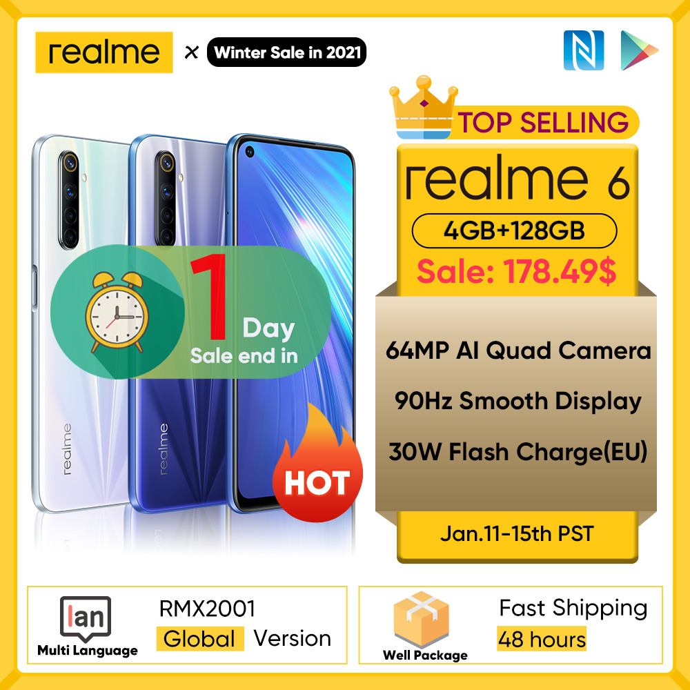 Realme 6 NFC versión Global 4GB 128GB teléfono móvil 90Hz pantalla Helio G90T 30W carga de Flash 64MP Cámara teléfono teléfonos Android|Teléfonos móviles| - AliExpress
