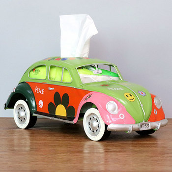 Flower Retro Iron Bus Tissue Box Model Figurines Car Craft Home Decoration Accessories for Living Room Ornaments for Home Decor 16