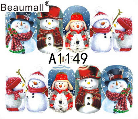 Christmas Designs, Nails Art Manicure Decals Water Transfer Stickers For Nails Tips Beauty