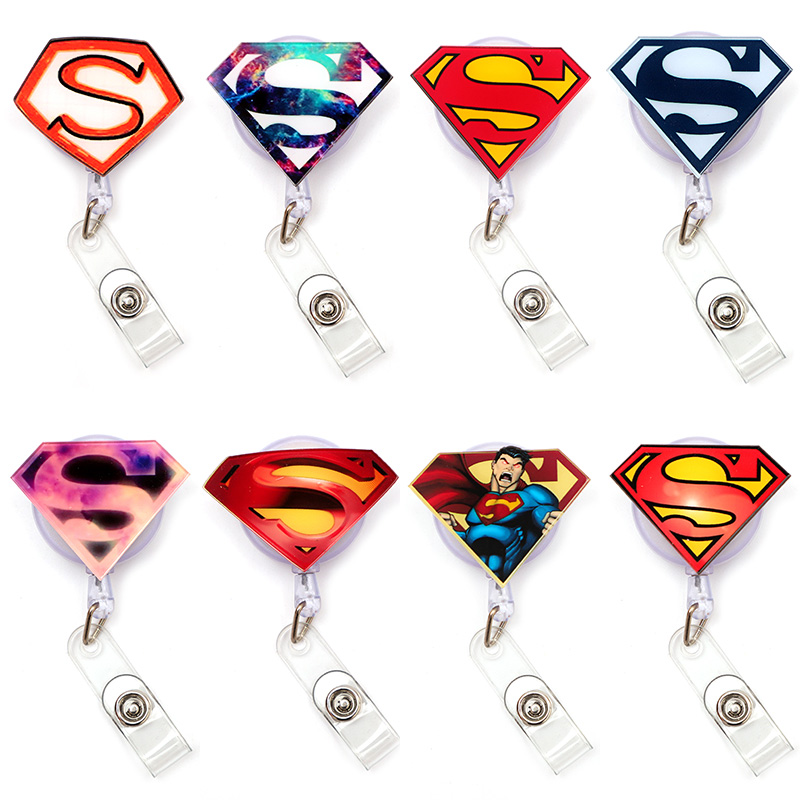 Cartoon USA Super S Man Clown Retractable Creative Card Holder Badge Reel Nurse Exhibition Enfermera Girl Name Card Chest Boy