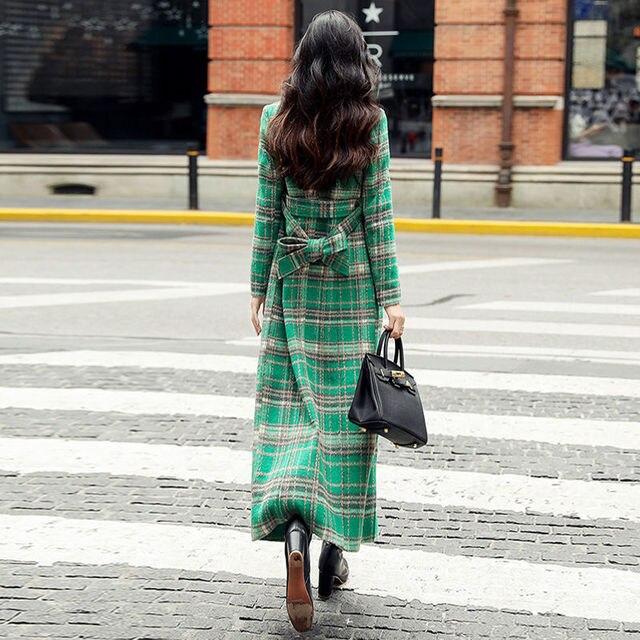 Купить женское длинное пальто с отложным воротником элегантное зеленое картинки цена